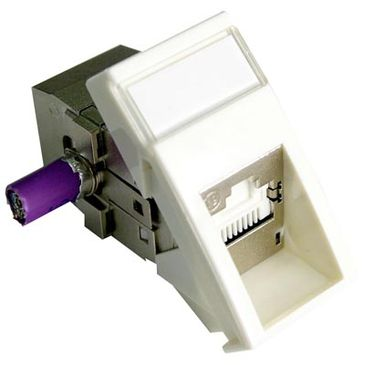 Modul/U Cat.6A STP 1xDG+ 22,5x45 Biely MPN MOSAIC s bočným káblovým vstupom